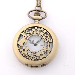 Полый цветок Полный Охотник кварцевые выгравированы Fob ретро кулон карманные часы цепи подарок пожарный тема