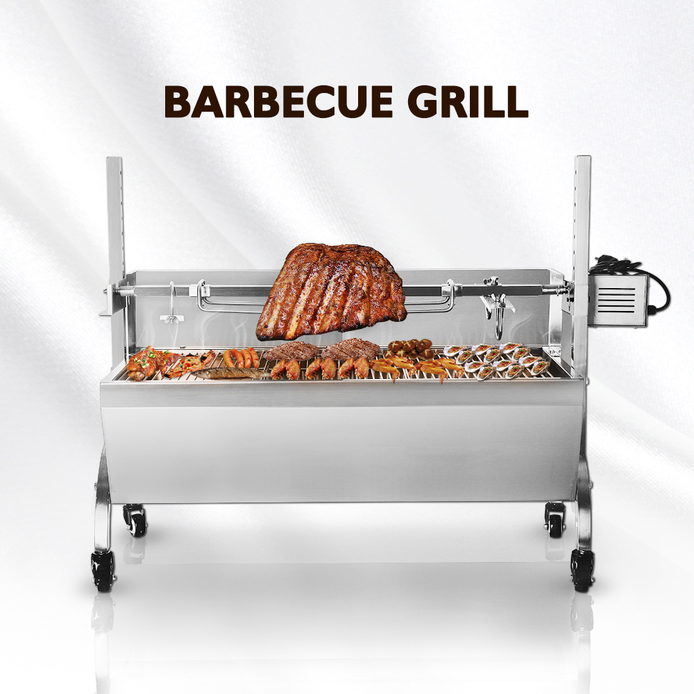 Multifunctional BBQ Grills Manual Pig Lamb Roaster Machine Barbecue For Outdoor Camping Stainless Steel Body