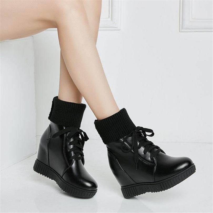 9238a8ae63b1b6 Lacets D'hiver black Tricoter Heel Coins 5cm Plate Bottines Haute Femmes  Punk 7 De forme ...