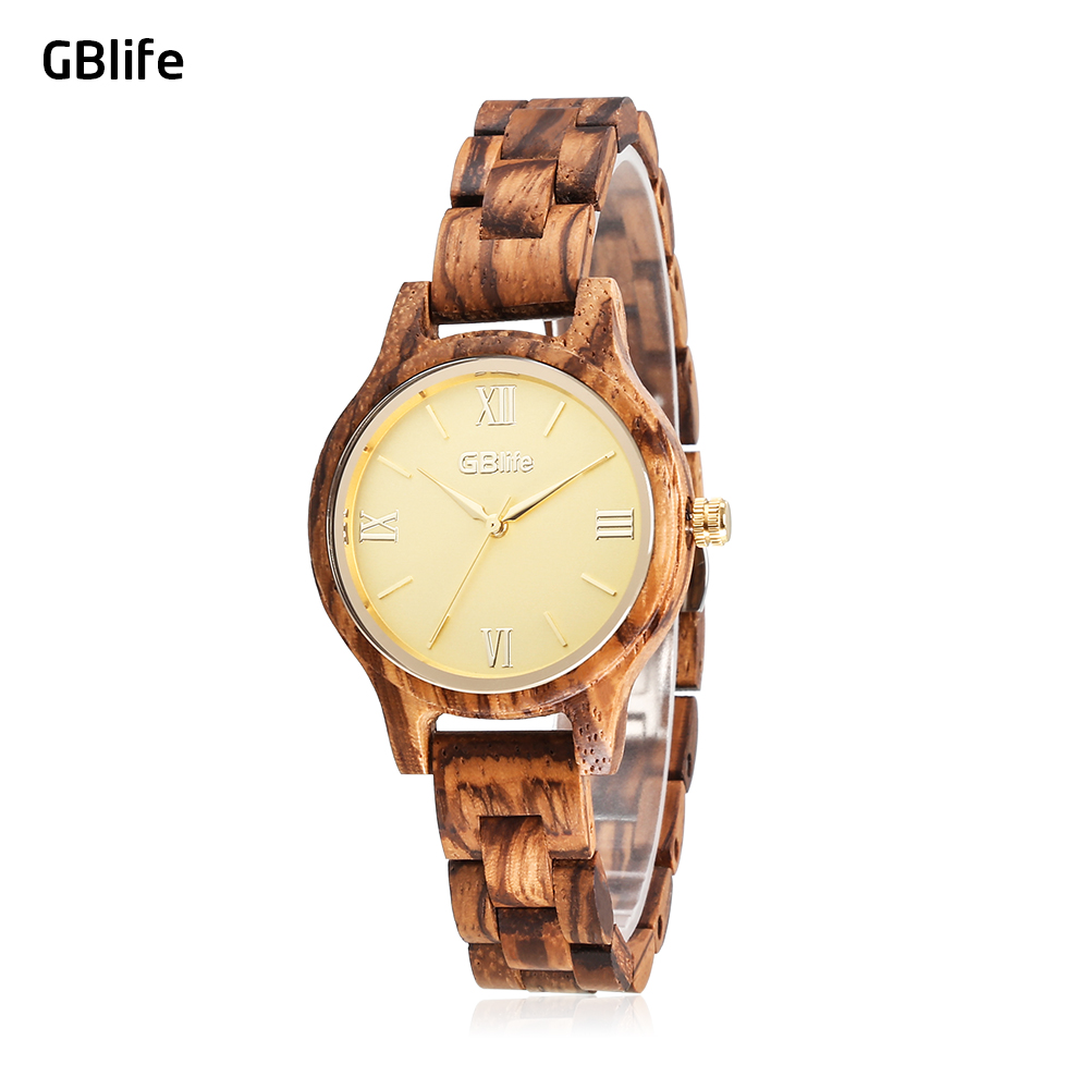 GBlife WF 001 Women Quartz Wooden Watch Simple Dial Female Wood Wristwatch 30m Water Resistance Female Quartz Wristwatches