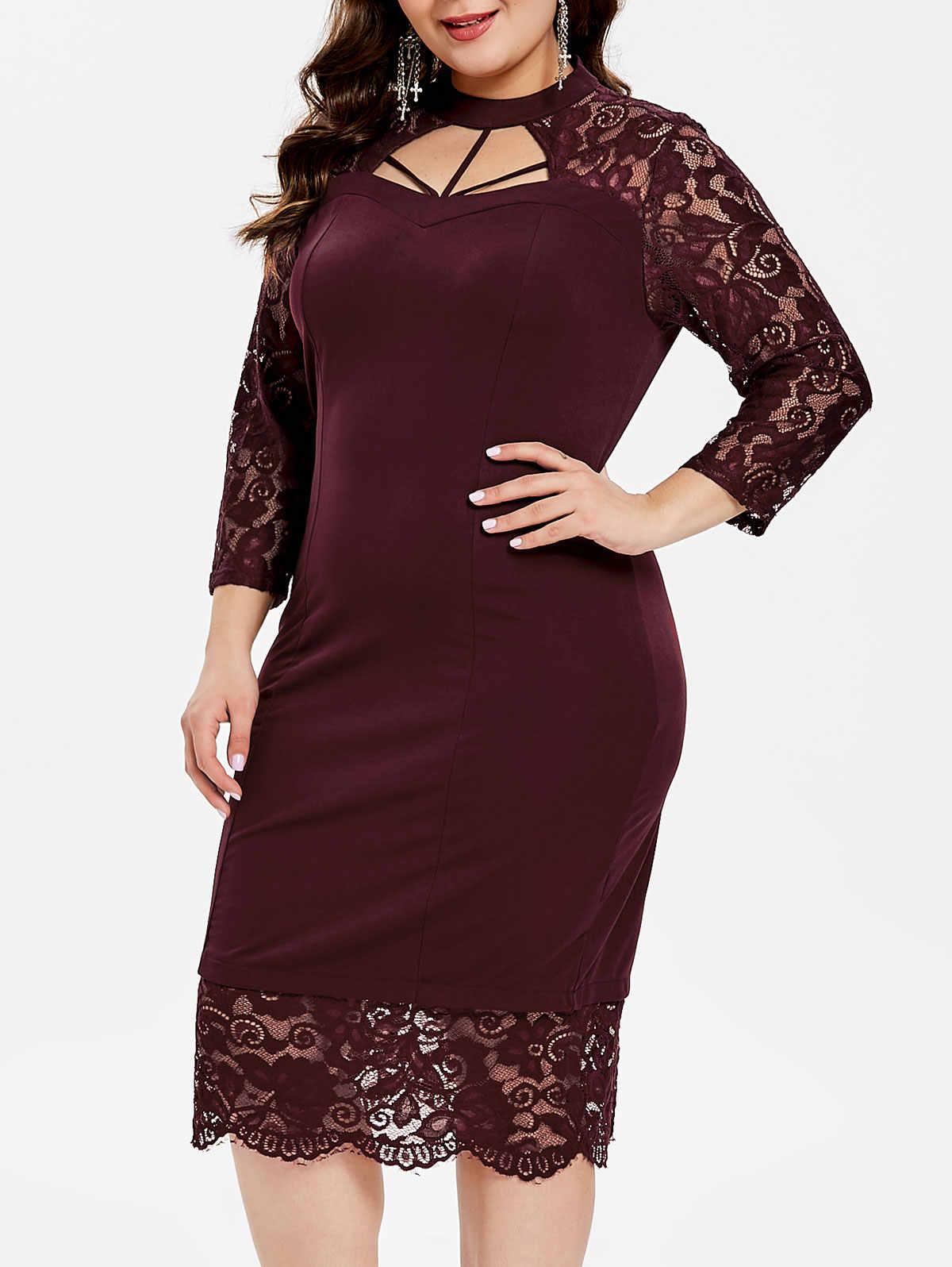 Wipalo, женское платье, плюс размер, 6XL, с вырезами, кружевная панель, облегающее платье, Ретро стиль, однотонное, облегающее, до середины икры, вечерние, весна-лето, Клубное, Vestido