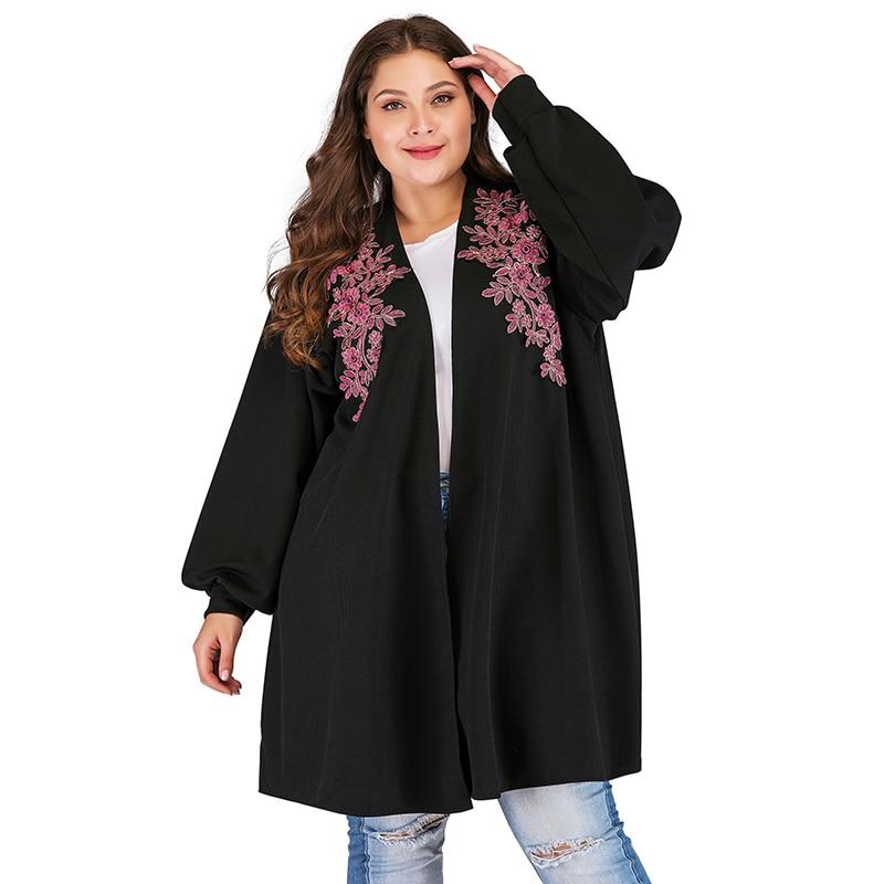 Vintage Jacket Women Coat Plus Size Long Cardigan Coat Floral Embroidery Lantern Sleeve Open Front Loose Coat Women Winter 2018