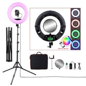 Image 1 - Fosoto FC 480 цветное RGB Светодиодное видео Освещение фотосъемки 2800 10000k 96W камера кольцо для телефона свет и штатив Стенд Зеркало