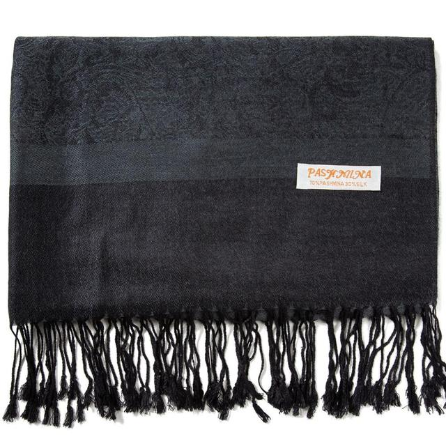 5206c1a461 US $8.99 30% OFF|Pashimina Silk Paisley Scarf Jacquard Warp Winter Spring  Autumn Shawl Cashmere Hijab Long 2 Tones Soft Large Dark Grey Black-in ...