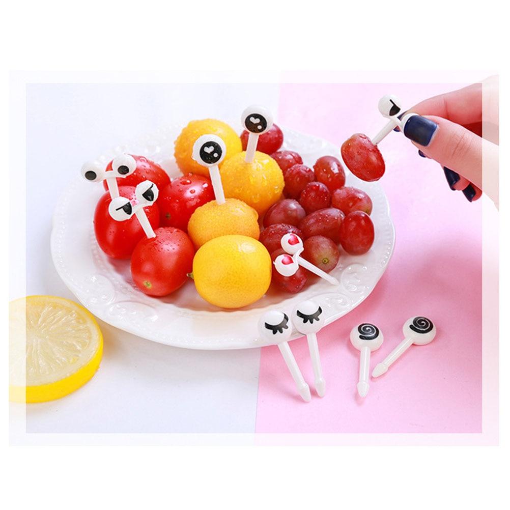 50pcs/set Assorted Cartoon Eyes Fruit Fork Non Toxic Snack Food Picks Dessert Fruit Picks For