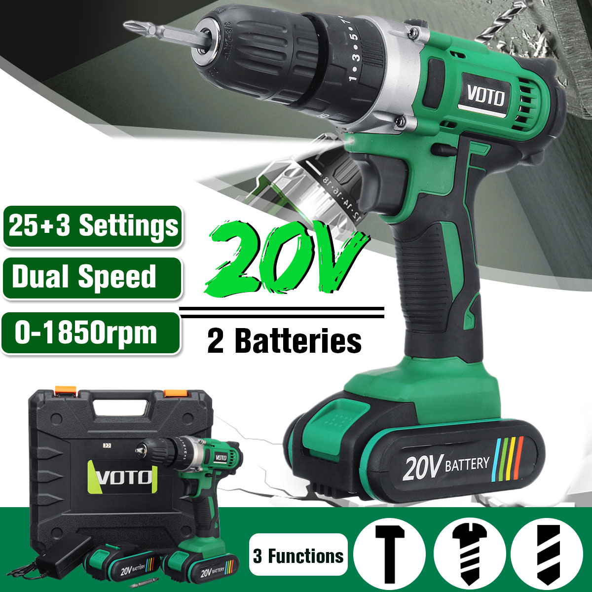 NEW Electric Screwdriver Cordless Drill Impact Drill Power Driver 20V Max DC Lithium Ion Battery 1850R/Min 2 Speed