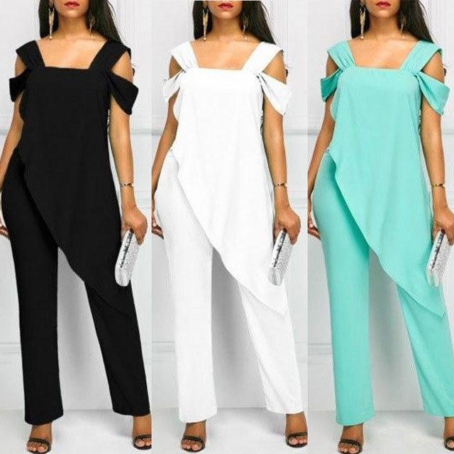 Plus Size 5XL Women's Fashion High Waist Slim Sleeveless Jumpsuits Casual Irregular Spaghetti Pencil Solid Jumpsuit   Rompers
