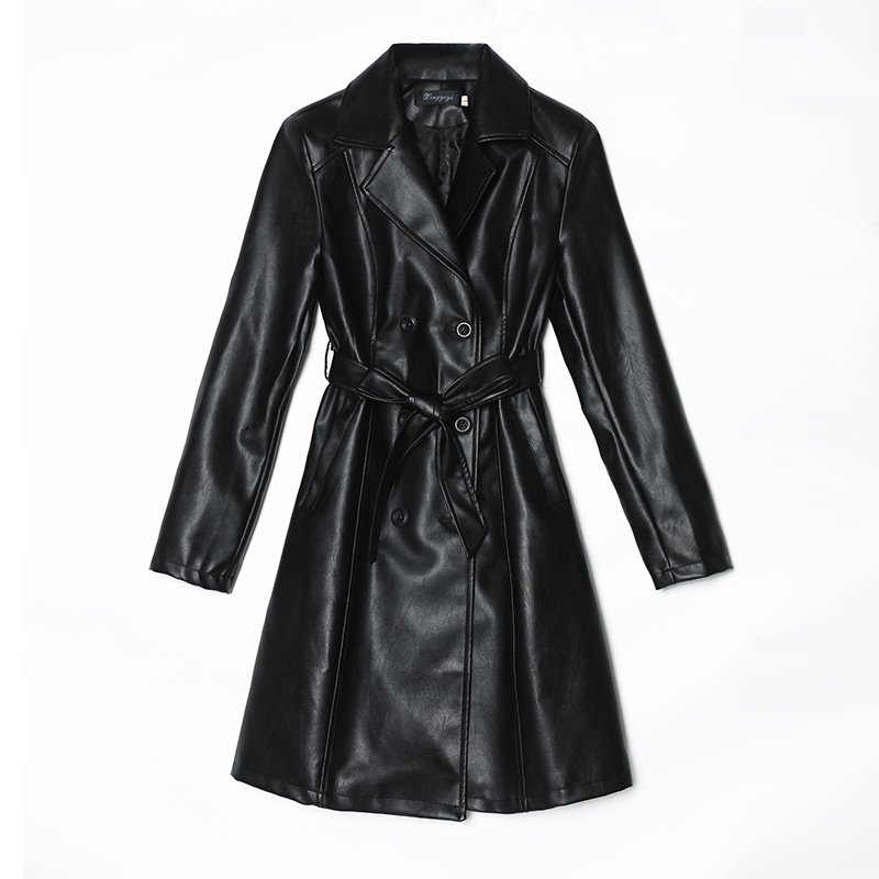 Fashion Women Pu   Leather   Jacket Coat Casaco Feminino Autumn Winter Elegant Female Overcoat Belted Faux   Leather   Outwear Plus Size