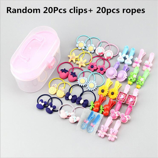 40Pcs/Lot Girls Hair Accessories Gift Box Elastic Hair Bands Flower Hair Clip Bows New Headband Hairband Cute Hairbands for Kids