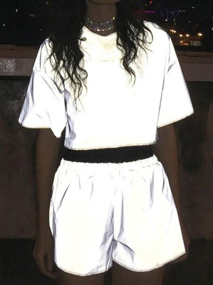 MisDream Solid Short T Shirt Reflective Tops Silver O Neck Women Tshirt 2019 Hollow Out Casual Summer Streetwear Haut Femme