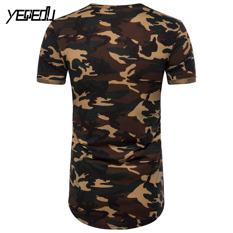 0822 Summer 2019 Camouflage Extended T Shirt Hip Hop Punk Style Streetwear Fashion Short Sleeve Slim Fit European Size M XXL in T Shirts from Men 39 s Clothing