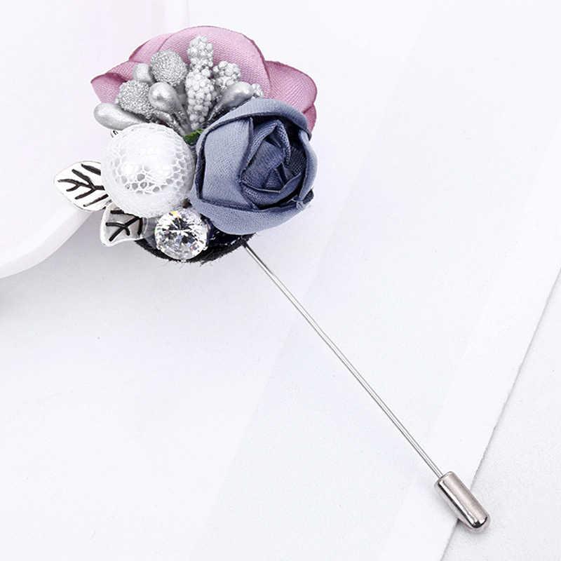 Fashion 1PC Handmade Cloth Lace Alloy Simulated Pearl Flower Rhinestones Colorful Brooch Cardigan Sweater Crystal Brooch