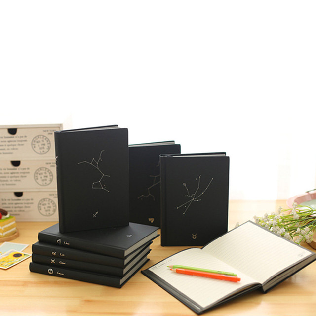 US $9 97 40% OFF|Random Cover Notebook Constellations Creativity Planner  Kawaii Scrapbook Black Cover Diary Office School Supplies-in Notebooks from
