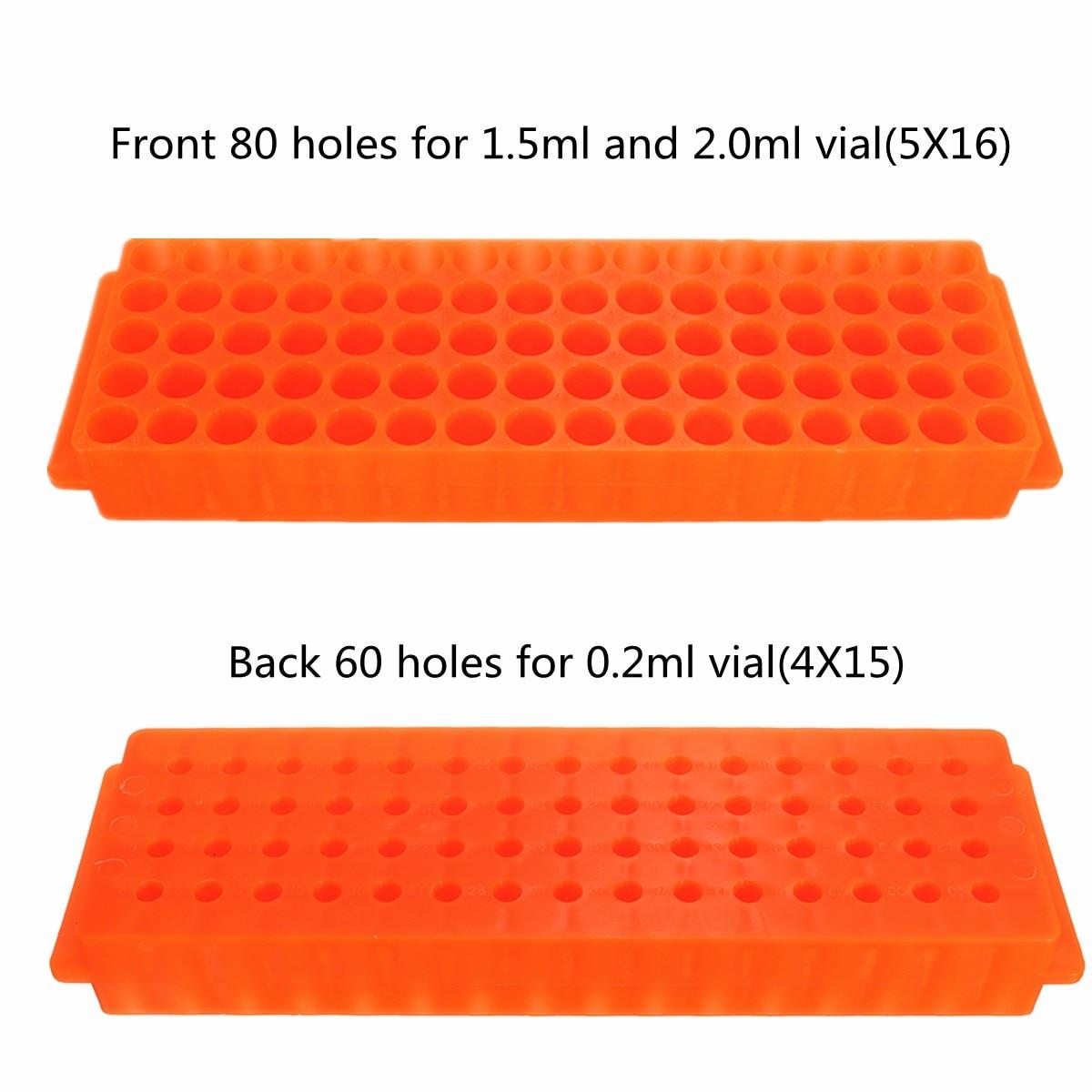 2 Side 60/80 Hole Plastic Test Tube Rack Laboratory Test Tubes Holder Stand Bracket Rack 0.2ml/1.5ml/2ml Micro Centrifuge