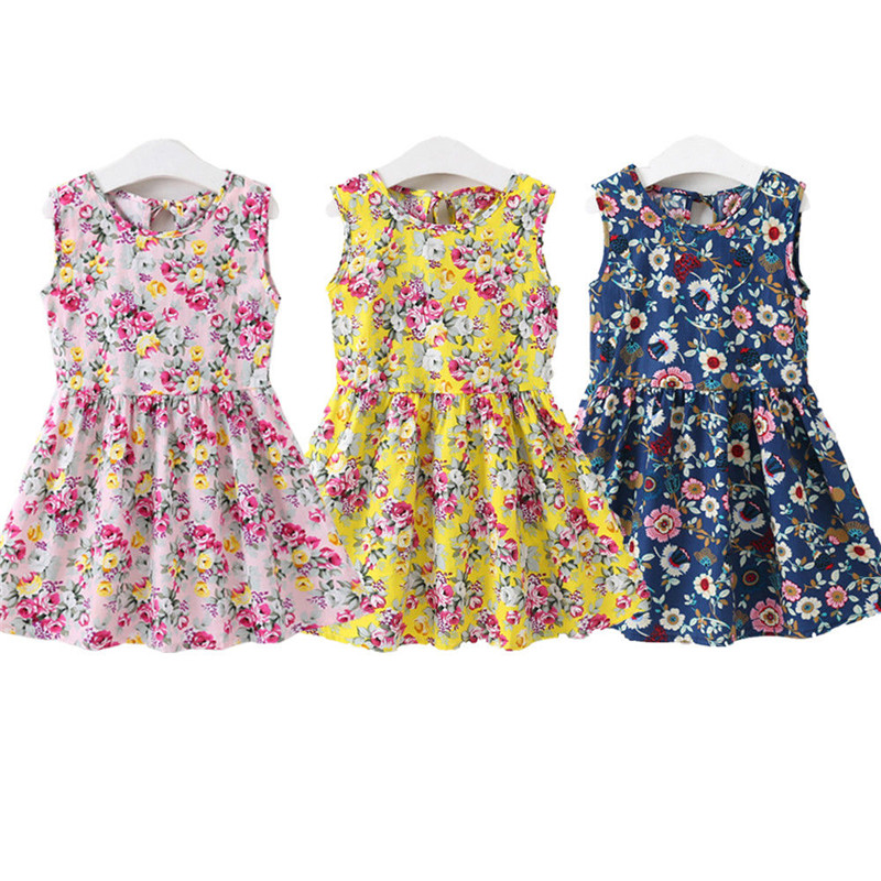 2018 New Hot Fashion <font><b>Princess</b></font> <font><b>Toddler</b></font> Kids Baby Girl Dress Flower Print Sleeveless Party Dress Summer Sundress 1-7T image