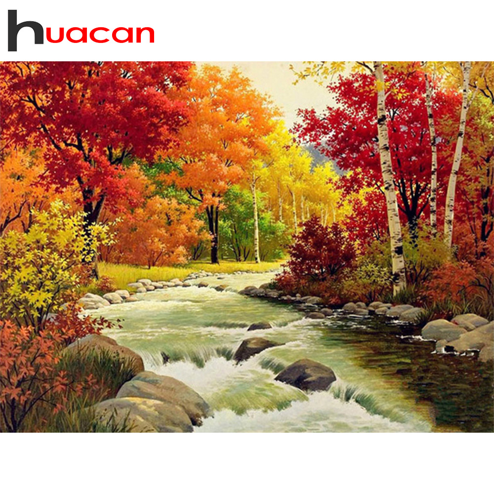 Huacan Diamond Painting Autumn Scenery 5D DIY Diamond Mosaic Landscape Full Square Diamond Embroidery Tree Crafts Kit Decorative in Diamond Painting Cross Stitch from Home Garden