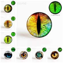 5PCS/SET Fashion Dragon Eyes 25MM Luminous Glass Dome Cabochon Charm Men Women Handmade Making Jewelry Accessories Gift(China)