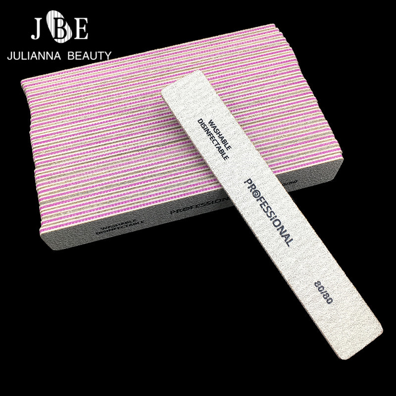 50 Pcs Lime A Ongle Professionel Nail File 80/80 Grit Nail Files Set Grey Square Style Acrylic Nail File Block Tool Accessoires