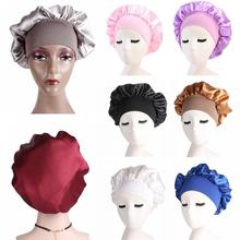 Women Satin Sleeping Muslim Hat Islamic Headscarf Head Cover Wide Band Adjust Elastic Hat Bonnet Turban Chemo Cap Headwear