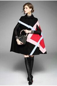 Image 5 - חדש 2019 אופנה נשים חורף מעיל גיאומטרי תבנית עטלף שרוול צמר חם גלימת שכמיות שכמיית מעיל צמר תערובות הלבשה עליונה