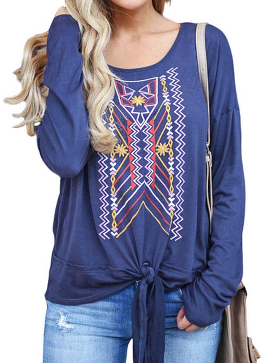 Fashion ethnic totem print Women Ladies Round Neck Long Sleeve t-shirt Tops Summ