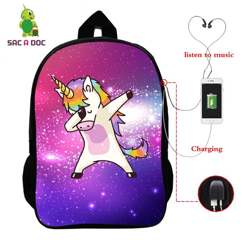 Laptop Backpack Travel-Bags Usb-Charge Rucksack Galaxy Unicornio Dabbing Teens School
