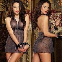 Womens Sexy Dress Perspective Mesh Black Bow Bandage Cloth Strap Lingerie Babydolls / Chemises