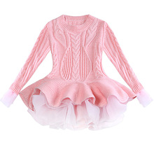 Childrens clothing 2019 new autumn and winter even girls dress children organza long sleeve sweater skirt