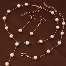 Simulated Pearl Fashion Jewelry Set For Women Girl Wedding Statement Necklace Earrings And