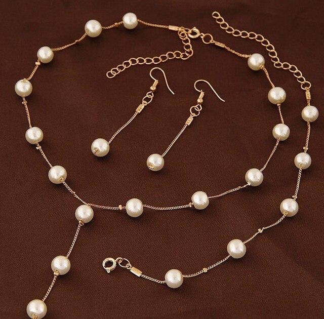 Simulierte Perle Modeschmuck Set Für Frauen Mädchen Hochzeit Erklärung Halskette Ohrringe Und Armband Set Partei Schmuck 2019
