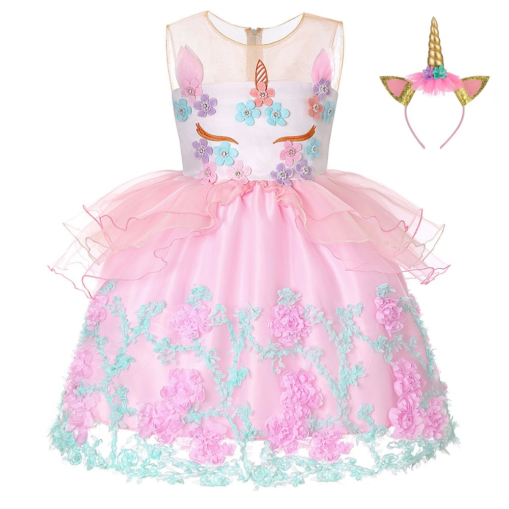 Kids Unicorn Costumes Flower Girl Unicorn Dresses Toddler Birthday Party Clothes Children Princess Tulle Gowns Vestido Unicornio 2018 summer unicorn party dress girl baby kids ball gown girls clothes vestido children wedding dresses costumes unicornio