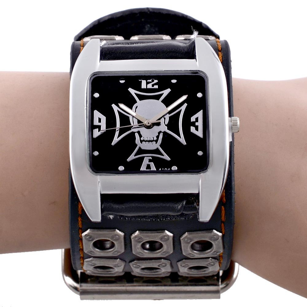 New Unique Skull Quartz Punk Watches Luxury Leather Sports Watch Relogio Masculino