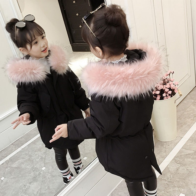 Little Children's Teenage Girls Winter Jacket Warm Cotton Padded Clothes Park For Girl Fur Hooded Winter Coat Girl's Jackets winter jacket men warm coat mens casual hooded cotton jackets brand new handsome outwear padded parka plus size xxxl y1105 142f