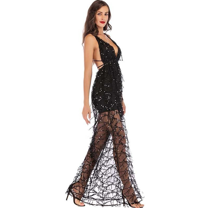MUXU fashion black sequin dress sexy transparent robe femme long dress vestido elegant frocks party suspender backless jurken in Dresses from Women 39 s Clothing