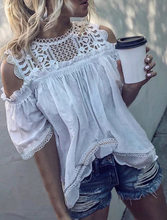 Hollow Out Blouse Off Shoulder Lace Ruffle Tops Solid Color Short Sleeve Women Blusas Femininas Clothing(China)