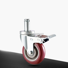 3-inch 4 inch 5 medium-sized casters, plug universal jujube-red PVC wear-resistant casters