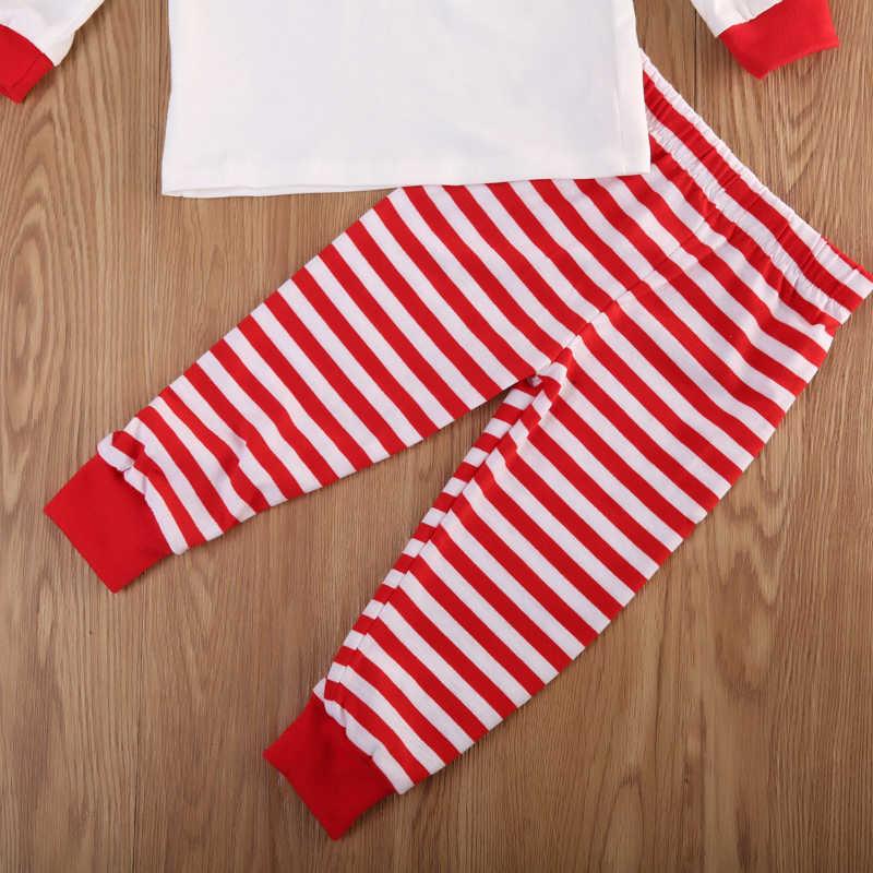 2 ชิ้นคริสต์มาสครอบครัวชุดนอนเด็กและผู้ใหญ่ยาวเสื้อ + กางเกงลายครอบครัวจับคู่เสื้อผ้าคริสต์มาส pjs ชุดนอน