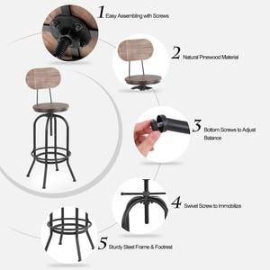 Image 3 - IKayaa Stile Industriale Sedie Da Bar Sgabello Regolabile in Altezza della Cucina Della Parte Girevole Sedia Da Pranzo Pinewood Top + del Metallo Con Schienale