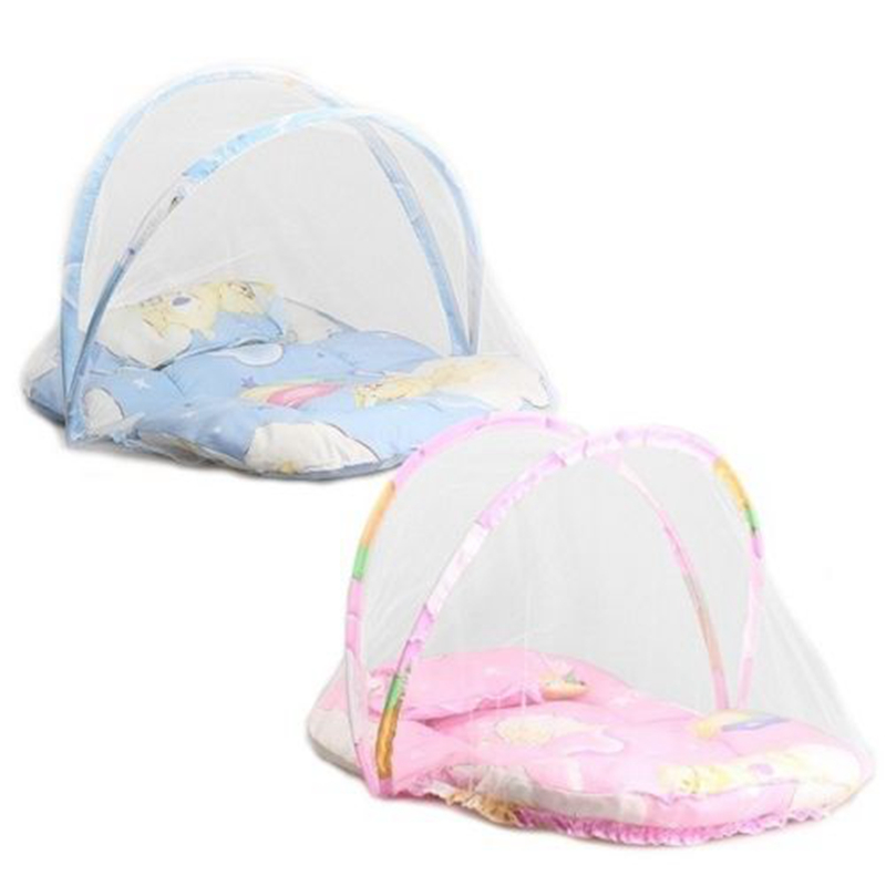 Pink Blue Baby Cartoon Foldable Crib Tent Bed Mosquito Crib Netting Net Warm Cotton Blends Mattress Pillow