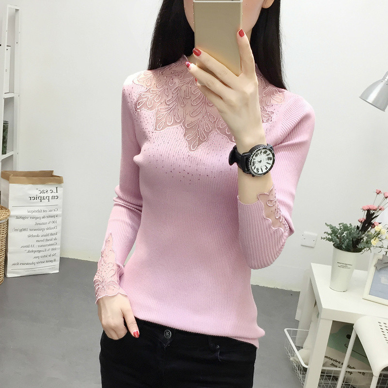 Autumn Winter Fashion Women Lace Sweater Elegant Female Half Turtleneck Slim Long Sleeve Knitted Pullovers Tight Sweater