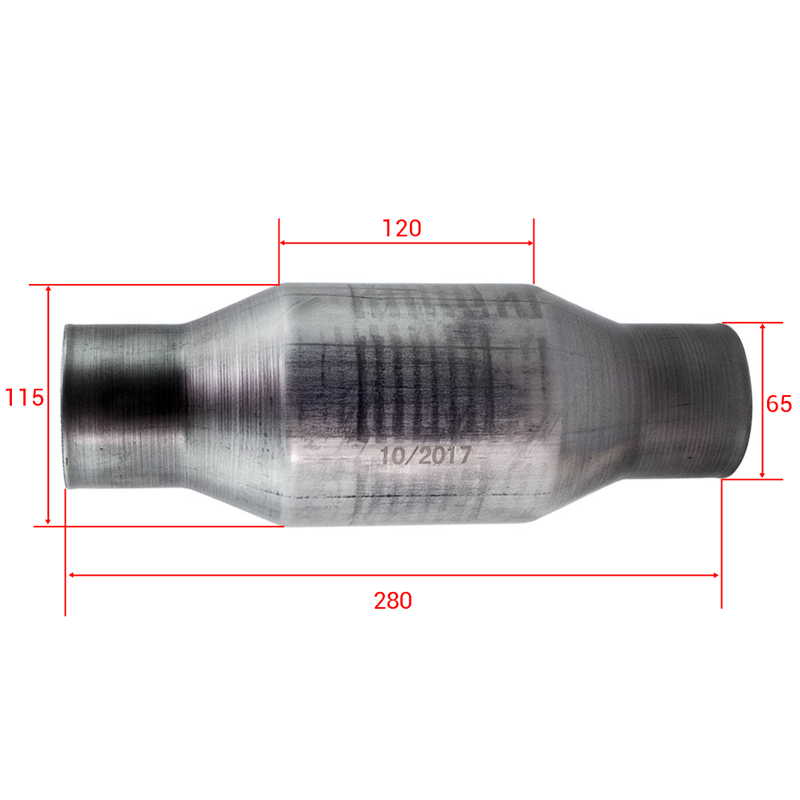 410250 2.5 Inch For Universal High Flow Stainless Catalytic Converter Prior Stainless Steel 400 Cell