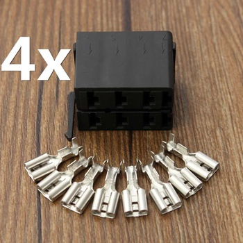 4 Juego de conectores de terminales de pala hembra 8X Aleación de ABS para enchufe ARB interruptor basculante Carling