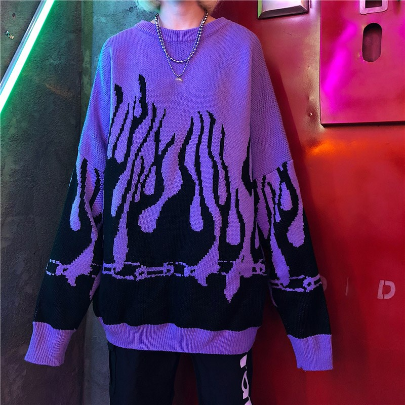 Hot DealsPrinted Sweater Pullovers Batwing-Sleeve Flame-Knitting Harajuku Loose Boyfriend Autumn