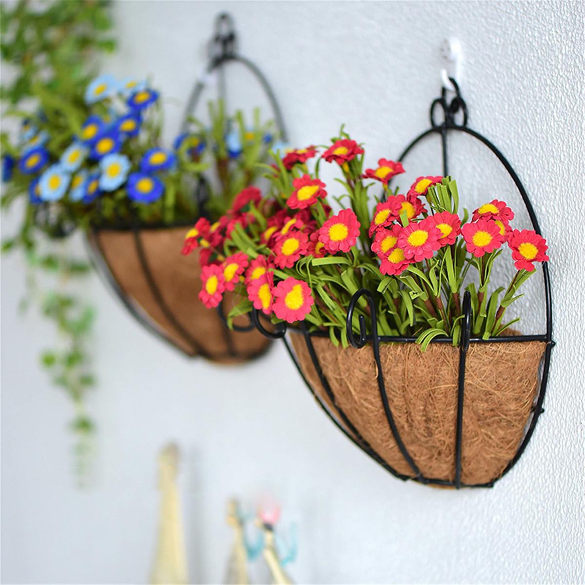 Us 6 31 21 Off Iron Wall Hanging Flower Basket Shelves Wall Decoration Plant Pots For Offices Home Garden Wall Farmhouse Decor Planter In Decorative