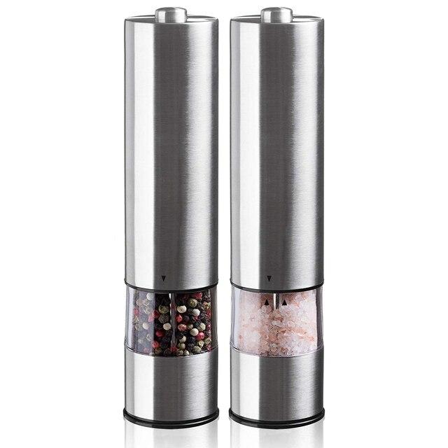 Unidad eléctrica de molienda de sal y pimienta (2 paquetes) vibrador ajustable electrónicamente amoladora de cerámica una mano automática