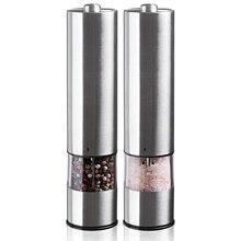 Unidade de moedura elétrica de sal e pimenta (2 pacotes) vibrador eletronicamente ajustável moedor de cerâmica automático com uma mão
