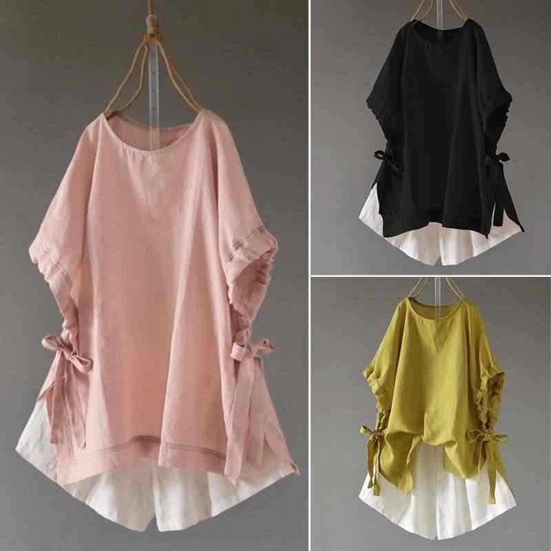 בציר קיץ חולצות נשים פשתן חולצה ZANZEA 2019 בתוספת גודל עטלף חצי שרוול מקרית Blusas נקבה Bow 5XL טי