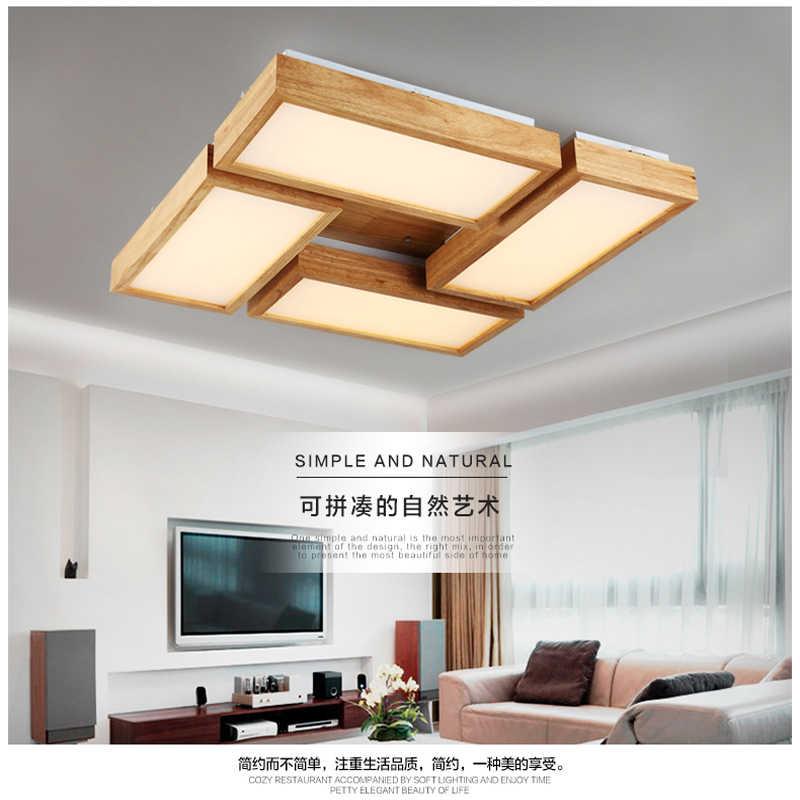 Современный короткий прямоугольный акриловый светодиодный потолочный светильник японский домашний деко Гостиная Деревянный потолочный светильник 110-240 В