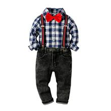VTOM  Baby Boys Sets Baby Kids Suit Kids Boy Long-Sleeved  Plaid Tops+Suspenders Pants 2PCS Baby Children Clothes XN56 kids tales jyt 180 baby boy clothes children kids boys long sleeves handsome suit sets casual design t shirts and pants wears