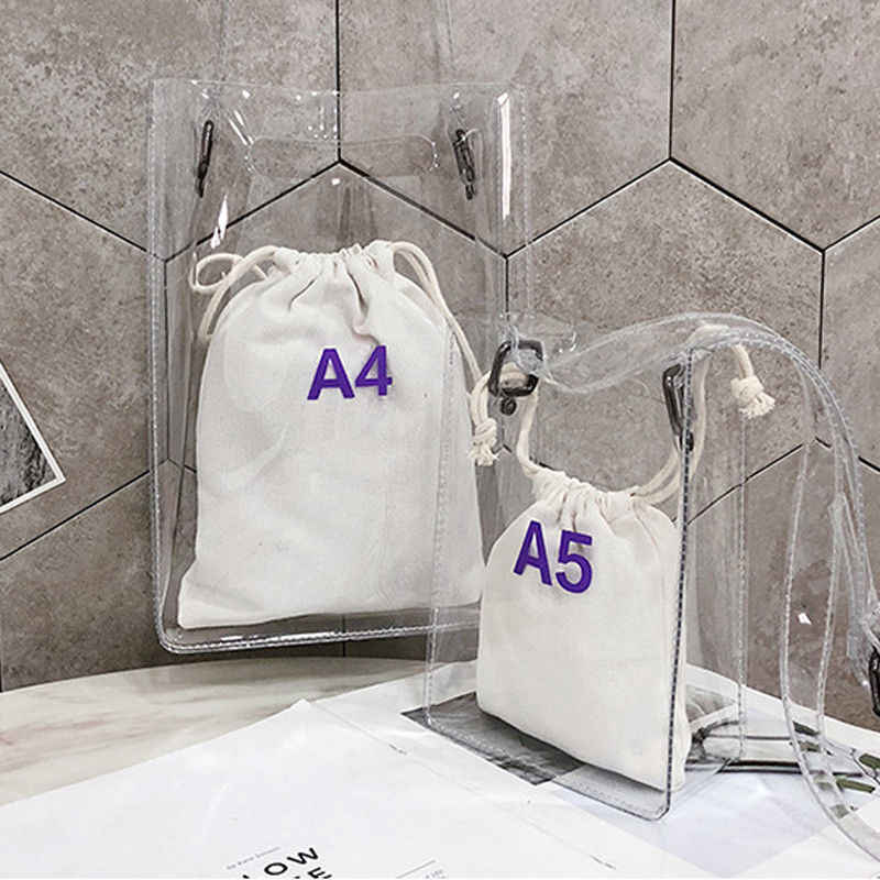 Women Handbag 2 in 1 Transparent Package PVC Casual Girls Clear Tote Shoulder Bag Alligator Messenger Bag
